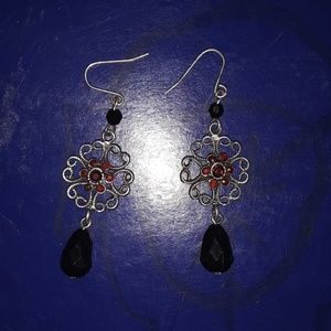 Red and black drop earrings